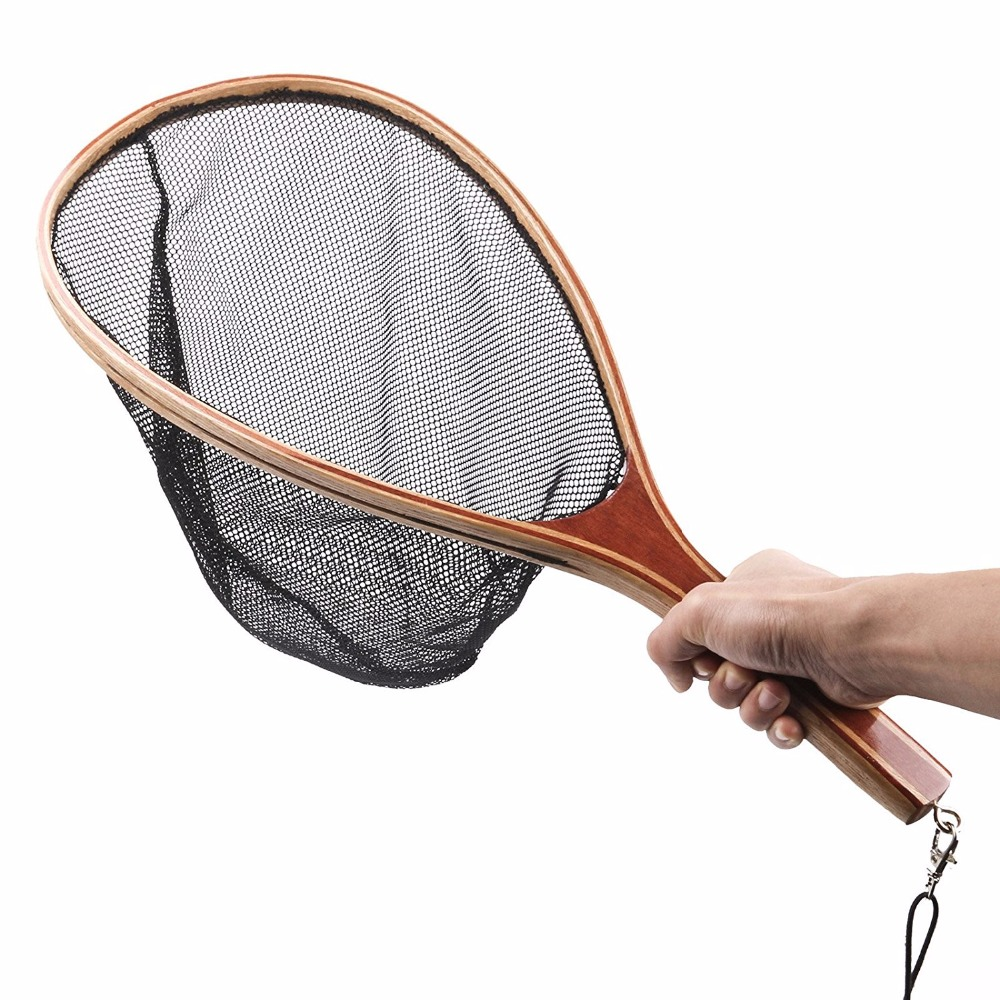 Lumiparty Fly Fishing wooden handl Landing Soft Rubber Mesh Trout Catch and Release Fishing Net Black