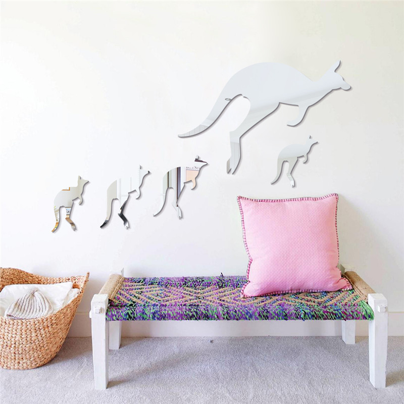 5pcs/set Kangaroo Wall Mirror Stickers Quotes Acrylic Wall Stickers For Kids Rooms Bedroom Enfant Sticker Wall Decoration