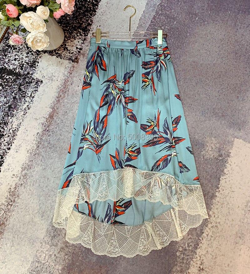 Jezioro niebieski zielony joslin raju spódnica iris kwiatowy drukowane spódnica trzy czwarte elastyczny pas koronki zdobione wykończenia nierówny brzeg spódnice w Spódnice od Odzież damska na  Grupa 3