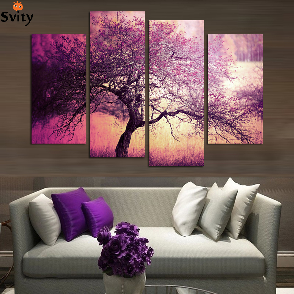 Unframed Purple Tree Landscape Group Canvas Painting wall pictures for Children s living Room home Decor