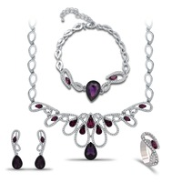 High Quality Water Drop Puple Stone Crown Shape Necklace Earring Bracelet Rings 4 Pcs Sets For