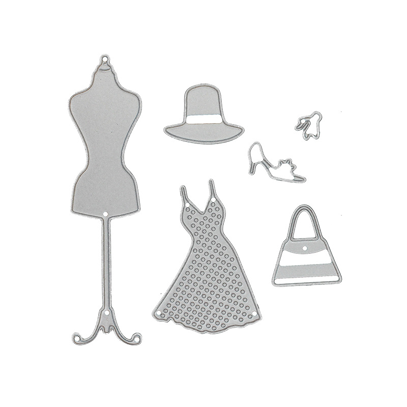 6Pcs/lot Metal Cutting Dies Dummy Form Dress Clothing Accessories Mannequin For Scrapbooking Stencils Card DIY Embossing Craft