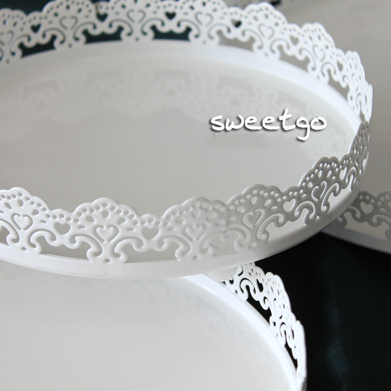 SWEETGO Lace edge cake tray high quality cupcake stand white metal plate for cake decorating tools bakeware kitchen dining u0026 bar-in Stands from Home ... & SWEETGO Lace edge cake tray high quality cupcake stand white metal ...