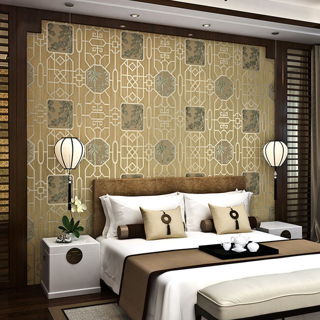 Chinese Style Wallpaper Ancient Wood Grain Living Room Bedroom