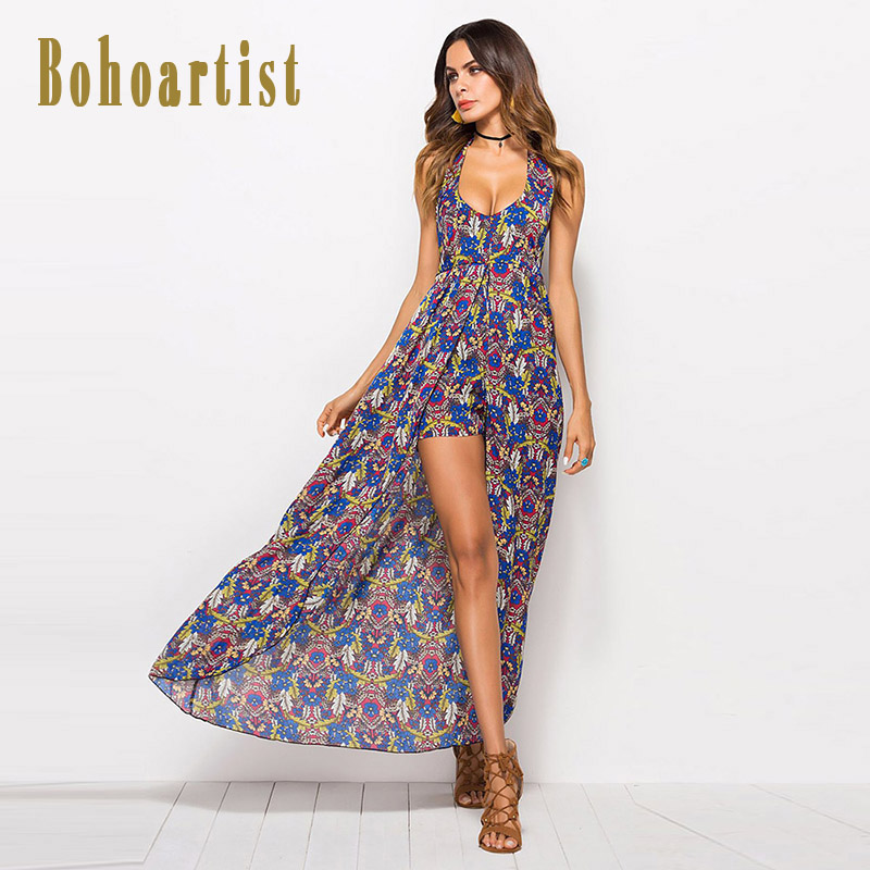 Bohoartist Women Sexy V Neck Backless Jumpsuit Halter Floral Print Rompers Skinny Womens Boho Beach Chiffon Playsuits Summer