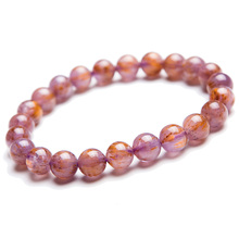цена Genuine Natural Cacoxenite Purple Rutilated Quartz Bracelets Women Men Stretch 8mm Crystal Round Beads Bracelet AAAA онлайн в 2017 году