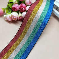 50 Yards Shiny Rainbow Colorful Glitter Wide Elastic Band 55mm Width Decorative Colored Elastic Ribbon For Sewing Handmade