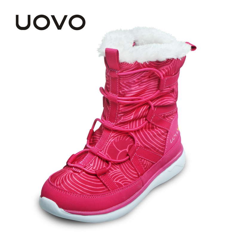 UOVO Newest Winter Kids Shoes Comfortable Warm Children Snow Boots Lacing Sport Boots for Girls Non-slip Size 28-37 uovo kids snow boots girls boys warm winter snow boots flower fashion winter shoes children boys waterproof non slip shoes