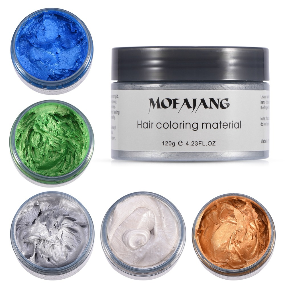 US $6.99 30% OFF|MOFAJANG 120g Hair Coloring Wax Silver Ash Grey Strong  Hold Temporary Hair Dye Gel Mud Easy Wash Hair Color Styling Promades  Wax-in ...