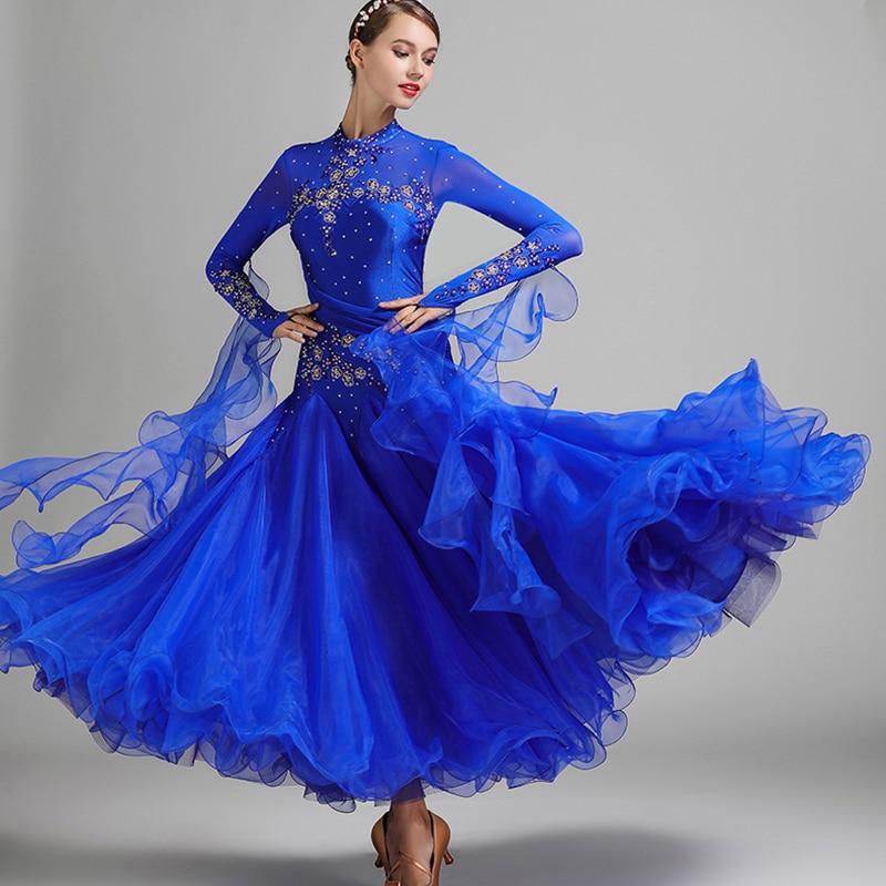 Red blue ballroom dance competition dresses waltz dance dress fringe luminous costumes standard ballroom dress foxtrot