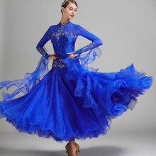 أحمر أزرق قاعة الرقص المنافسة فساتين الفالس فستان رقص هامش ازياء مضيئة القياسية قاعة الرقص فستان foxtrot 9 color