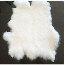 100% alfombra de piel de conejo auténtica en blanco 40*24cm, Forma natural conejo auténtico alfombrilla de piel para muebles, DIY conejo piel material SALES