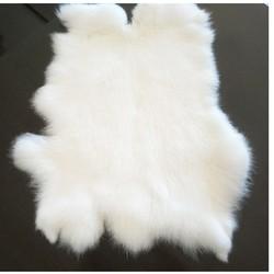 Tapis en fourrure de lapin 100% authentique blanc, tapis en vraie fourrure de lapin, forme naturelle, pour meubles, vente bricolage