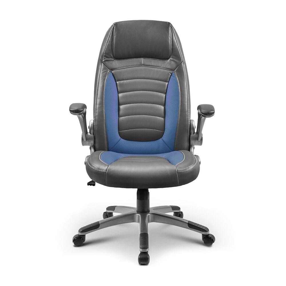 Fauteuil de bureau exécutif avec bras rabattables, fauteuil de bureau ergonomique réglable en cuir reconstitué avec Support lombaire amovible