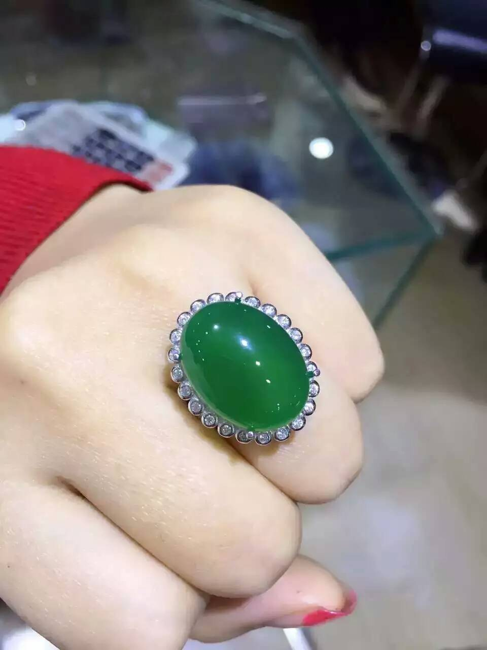 Natural green chalcedony gem Ring Natural gemstone ring S925 sterling silver trendy big luxurious round women gift Jewelry
