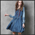 New 2016 Autumn Women Dress Casual Vintage Denim Dresses Square Neck Long  Sleeve Embroidery Casual Vestido Jeans Robe E13