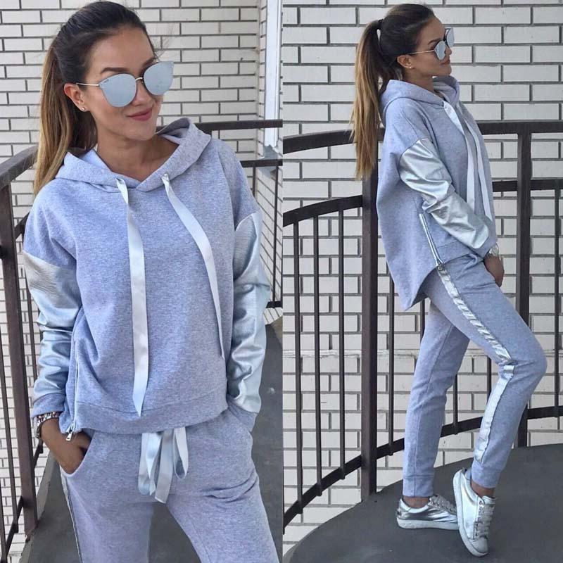 HAHASOLE à capuche vêtements pantalons costumes pour courir Sport survêtement pour femmes 2018 coton Gym gris rose Yoga ensembles Jogging HWA2309-4