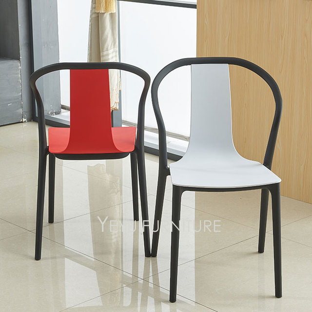Modern Design Double Color Outdoor Stackable Plastic Chair Stack Dining Chairs Negotiate Meeting