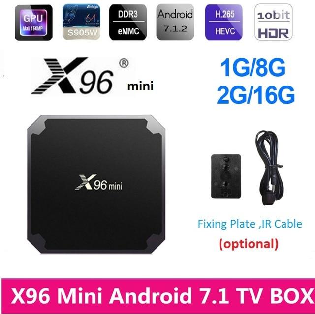 US $14 25 5% OFF X96 mini Android TV Box Amlogic S905W Smart Android 7 1  WiFi TV Box 1G 8G/2G 16G Media Player 100M LAN 4K HD X96Mini Set Top Box-in