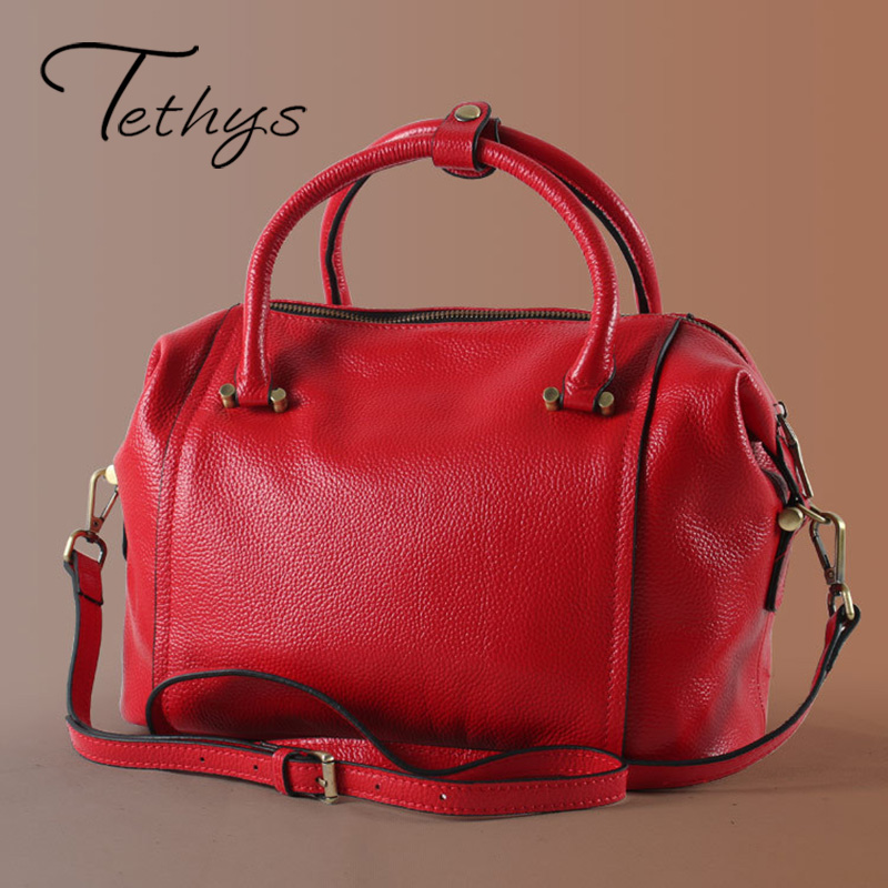 ФОТО 2017 New Fashion Women's Boston Bags Women Handbag Genuine Leather Luxury Handbags Women Bags Designer Female Bags Sac A Main