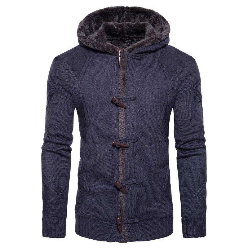 2019 Casual Stand Collar Knitting Men Cardigan Sweater Men Fashion Printed Jacket Long Sleeves Top Coat Warm High-grade Sweaters