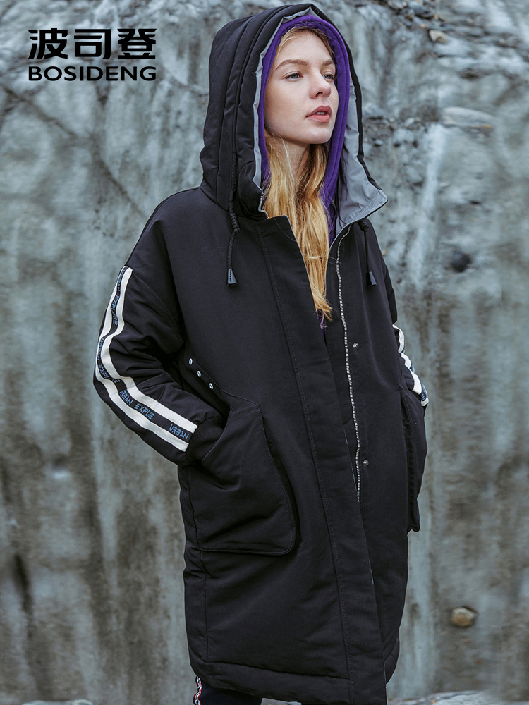BOSIDENG new winter   down   jacket for women   down     coat   mid-long thicken outwear strip sleeve long parka with hat B80142508DS