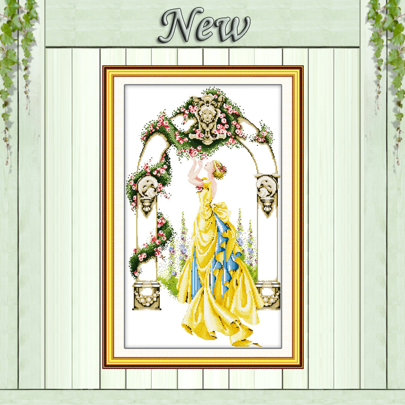 Rose in gate and courtyard beauty girl painting counted print on canvas DMC 11CT 14CT Cross Stitch kit embroidery needlework SetRose in gate and courtyard beauty girl painting counted print on canvas DMC 11CT 14CT Cross Stitch kit embroidery needlework Set