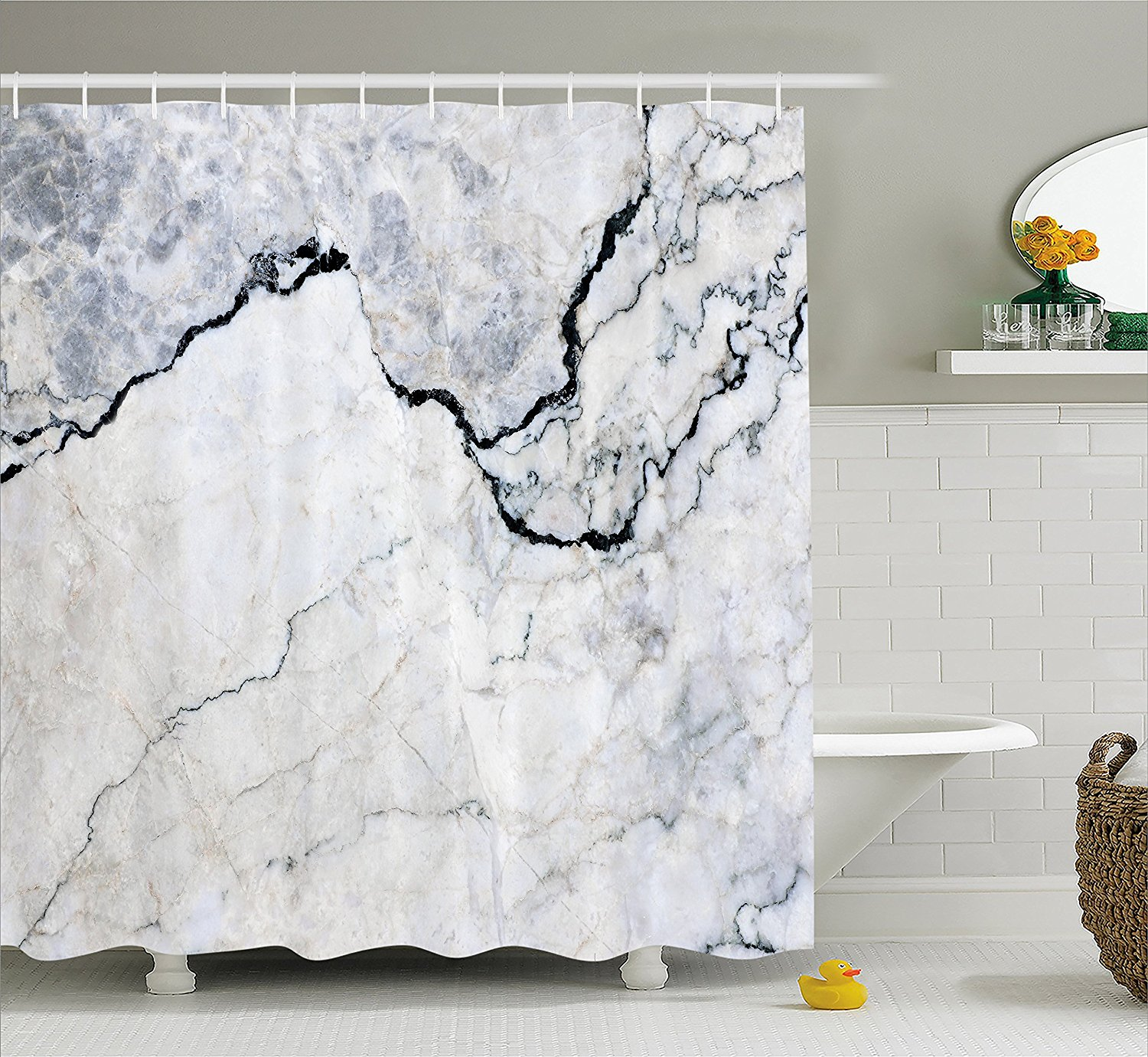 Fine bathroom accessories - Marble Textured Smooth Details Cracked Dimension Stone Smooth Elegance Image Fabric Bathroom Decor Set With Hooks