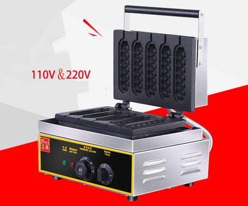 цена на Commercial Electric 6 pieces Crispy corn hot dog waffle maker non-stick French Muffin sausage Machine EU US plug 110V 220V