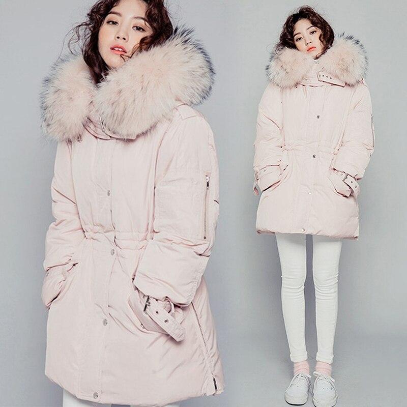 Longue 2018 Coréen Bas Plus Épais Blue Veste Vers Lx261 Canard Col D'hiver Faux Manteau Le De Chaud Nouvelle Parka Ayunsue Blanc La 90 pink Femmes Taille Fourrure Mince ZqXww