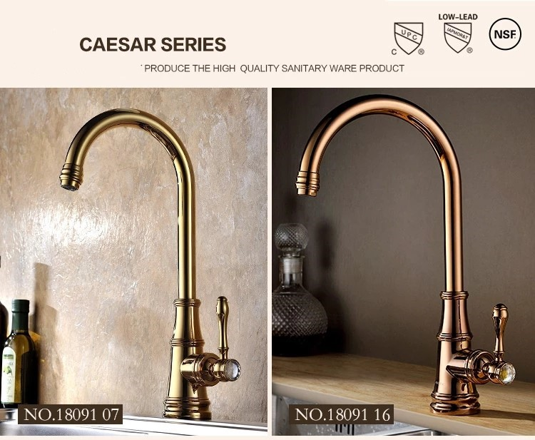 Luxury Single Handle Antique Brass Bathroom Faucet: Antique Design Single Lever Luxury Gold / Rose Gold Plated
