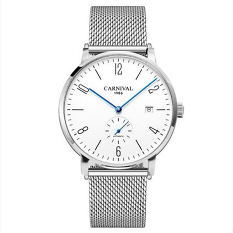 Karneval Automatische mechanische Uhr Männer luxury brand voller Stahl Business männer Uhren Calkskin Leder Mode Casual Datum Uhren - 2