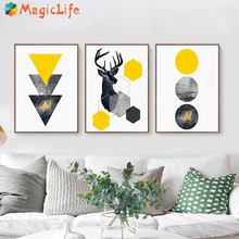 Abstract Geometric Triangles Deer Poster Wall Art Canvas Painting Nordic Pictures for Living Room Home Decorations