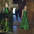 2016 new style long Lovely green dress on keira knightley long celebrity dress sexy backless women evening dress
