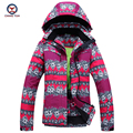 2016 invierno mujeres Flor impreso capa del algodón a prueba de viento impermeable de algodón térmico abrigo señoras chaqueta y pantalones fija 9653