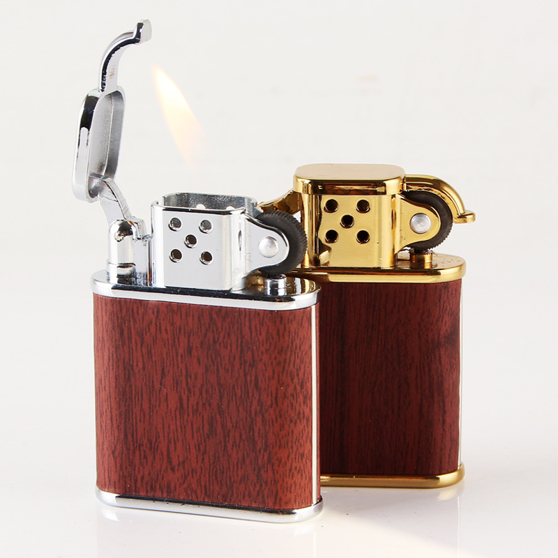2019 New Wood Pattern Lighter Windproof  Cigarette Grinding wheel Lighter Jet 1300 C Butane Lighter No Gas-in Matches from Home & Garden