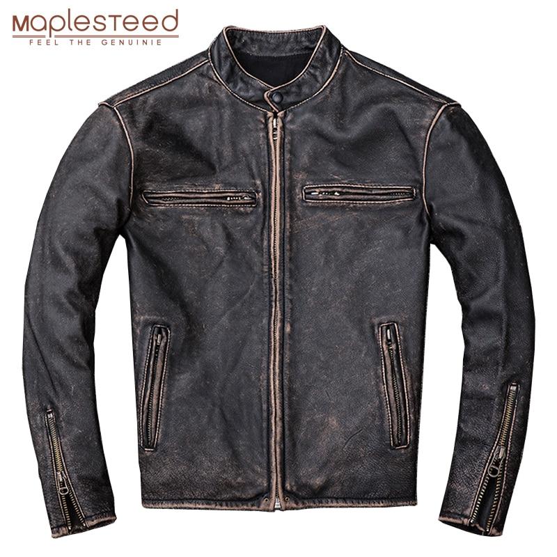 MAPLESTEED Washed Stone Milled Distressed Leather Jacket Men Vintage Jacket Slim 100% Natural Calf Skin Mens Coat Winter M204