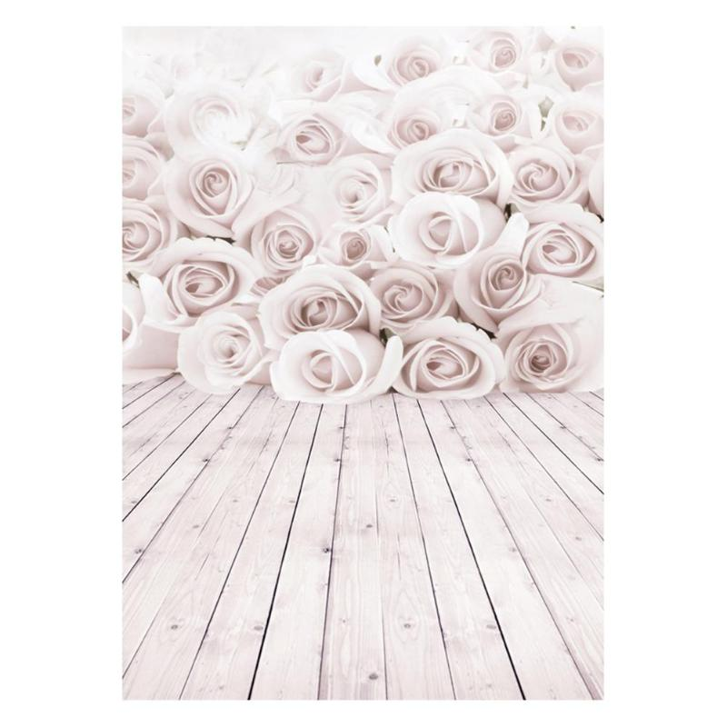 ALLOYSEED 3D White Rose Flower Wood Floor Romantic Wedding Photography Backdrop 3X5FT Wedding Photo Backgrounds For Studio Props