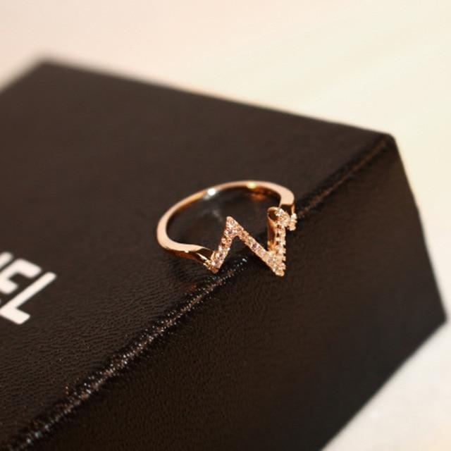 Фото женское кольцо с электрокардиограммой молнией золотистые кольца цена