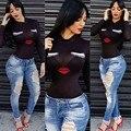 Camiseta de Las Mujeres 2017 Otoño Moda Sexy Impreso de Manga Larga Camisetas Ocasionales de Las Mujeres de Cuello Redondo Negro Blanco Tops camisa feminina
