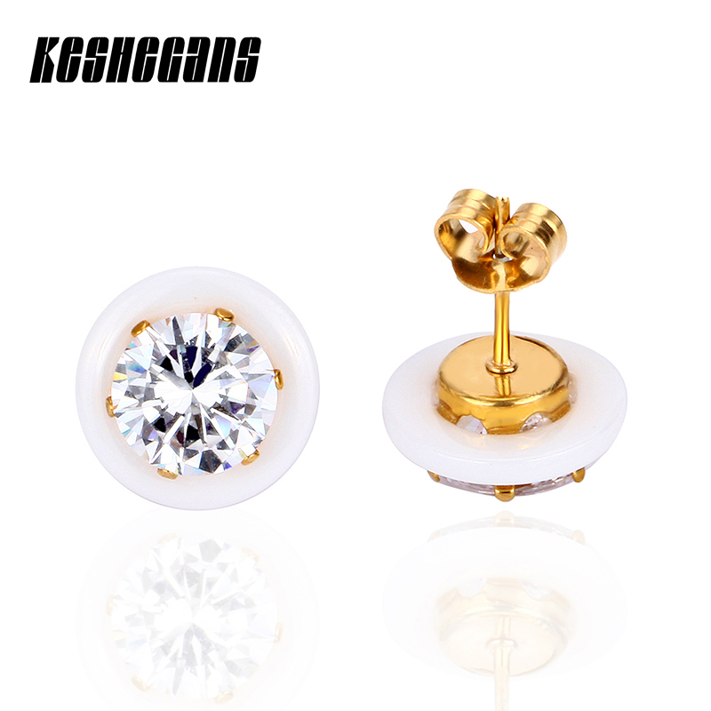 New Fashion Big Crystal Stud Earrings Black White Classic Rhinestone Stud Earrings Stainless For Women Wedding Party Jewelry pe hagit fashion 1 pair round shape vintage stud earrings for man trendy party black earrings jewelry men