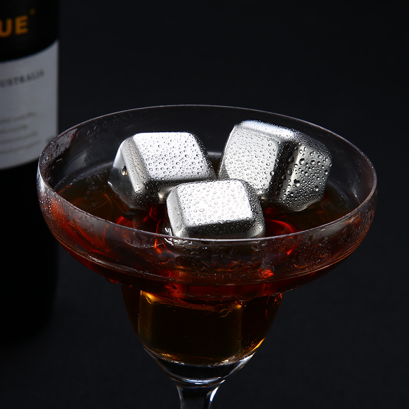 Stainless Steel Reusable Ice Cubes Frozen Ice Blocks Maker Whiskey Ice Cube Maker Useful Wine Beer Cooler image