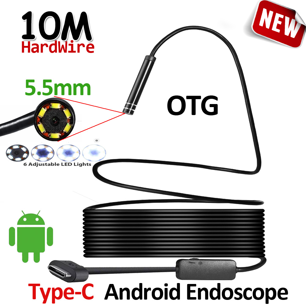 OD5.5mm 6LED Android USB Type C Endoscoop Camera 10 M Flexibele Snake Harde Draad USB Type C Waterdichte Buis Inspectie Gereedschap Camera