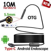 OD5.5mm 6LED Android USB Type C Endoscoop Camera 10 M Flexibele Snake Harde Draad USB Type C Waterdichte Buis Inspectie Gereedschap Camera