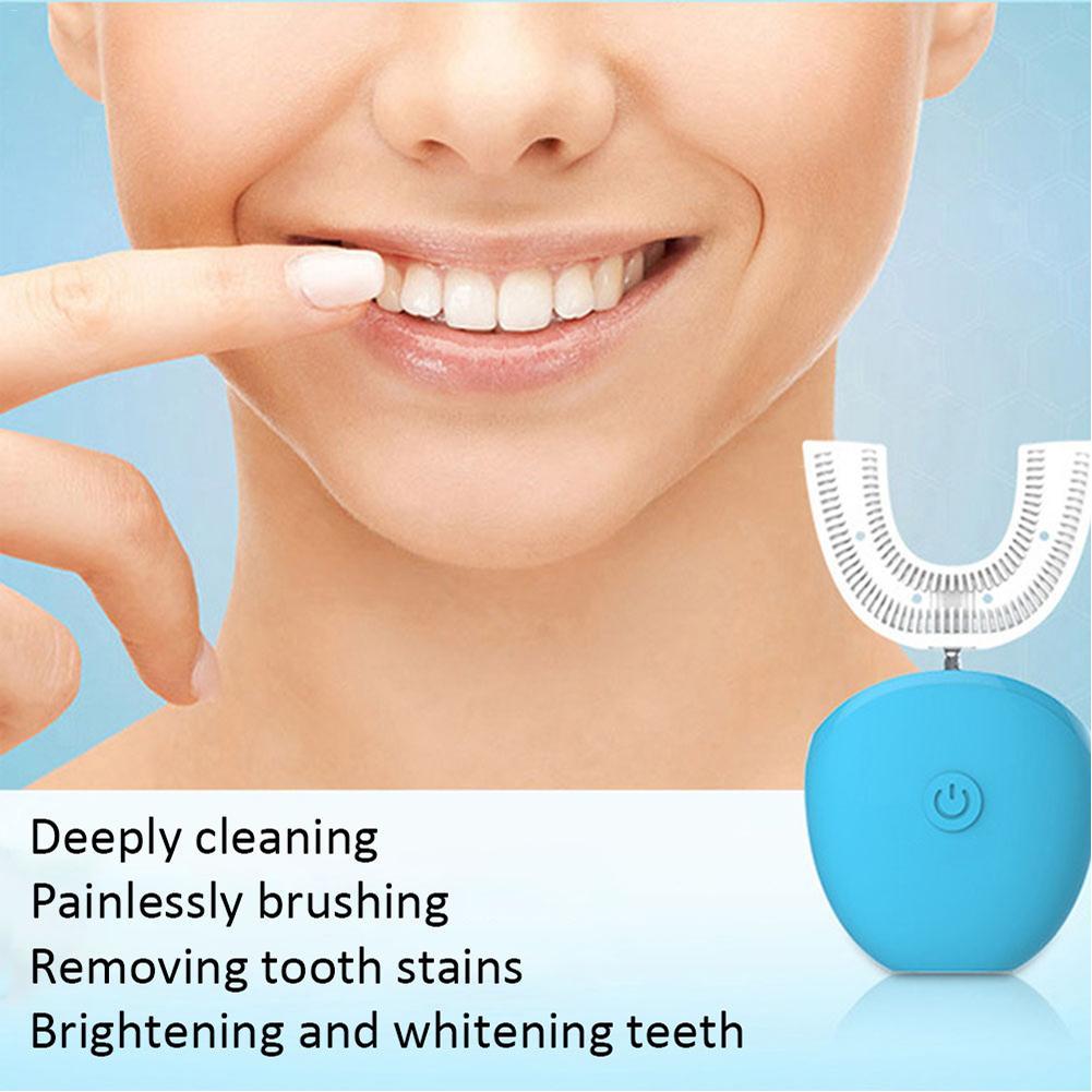 Brosse à dents électrique automatique sonique de 360 degrés blanchissant la brosse à dents intelligente de Silicone en forme de U USB Rechargeable