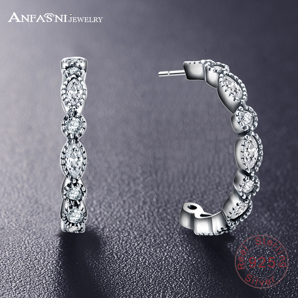 551592b35 ANFASNI 925 Sterling Silver Alluring Brilliant Marquise Earrings Women  Engagement Jewelry Femme Brincos New Year Gift PSER0060 B-in Stud Earrings  from ...