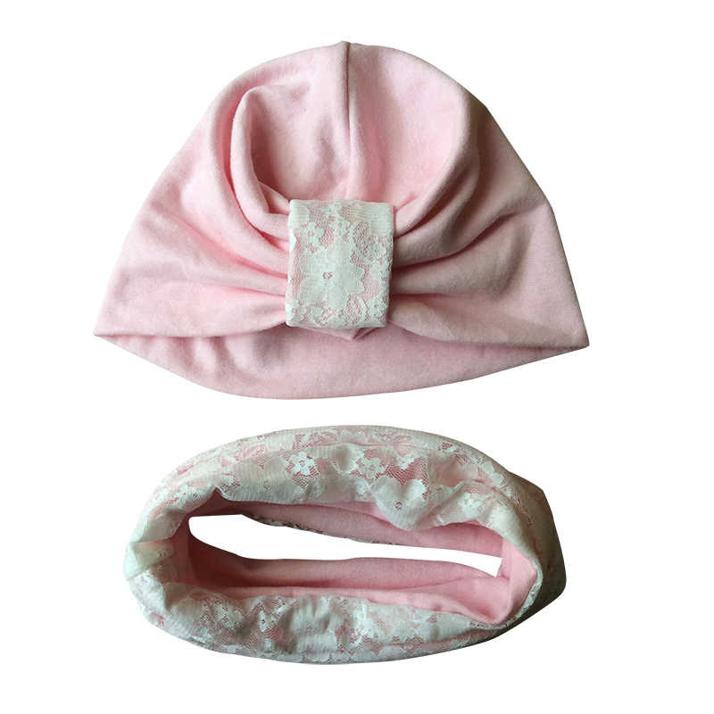 Baby Girls Hat Lace Patchwork India Hat For Girls Cotton Baby Hat Scarf 2PCS Set Winter Kids Girls Caps Children Accessories
