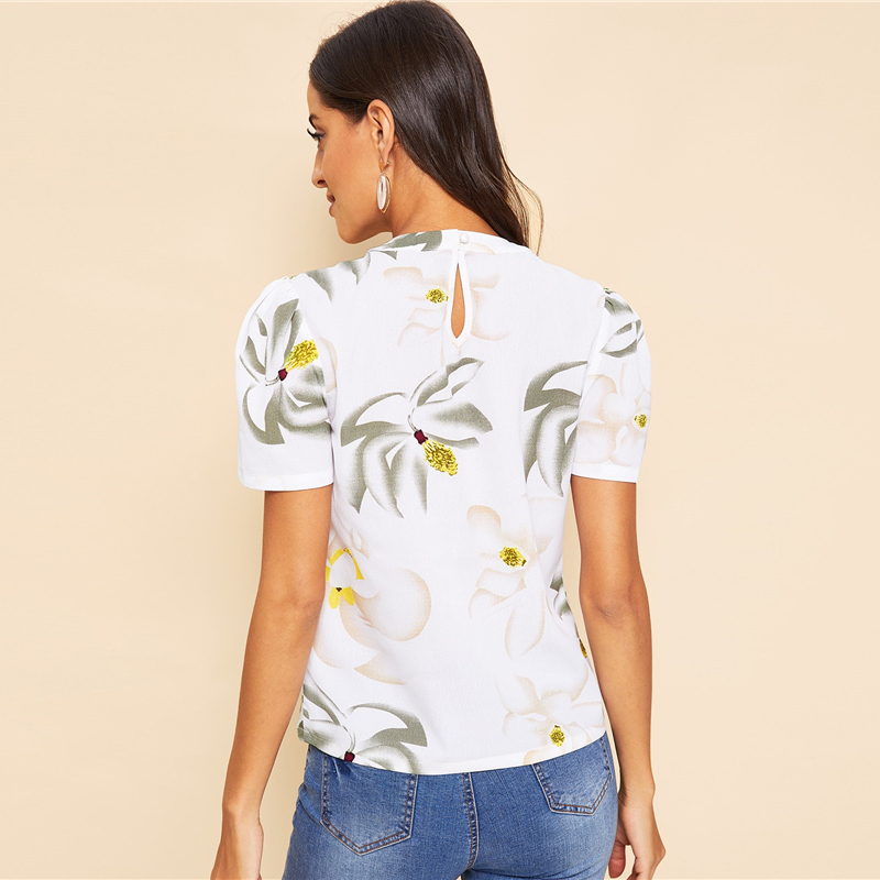 Back Pleated Floral Short Puff Sleeve Summer Blouse 8