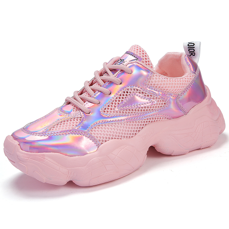 UVWP Female Sneakers Flat-Shoes Breathable New-Style Fashion Women Summer Casual Shiny