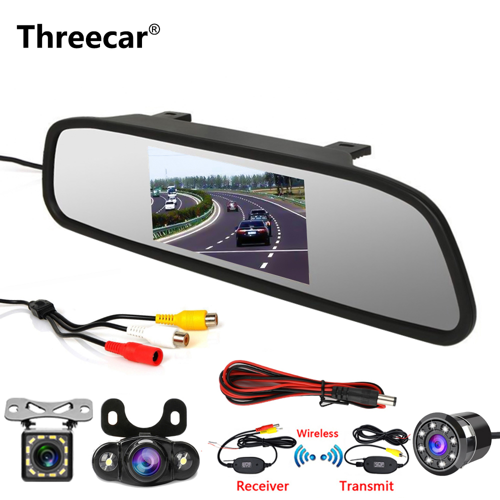 Threecar 4.3 Inch Car Rear View Mirror Monitor Rear View Camera CCD Video Auto Parking Assistance 8 LED Night Vision Reversing
